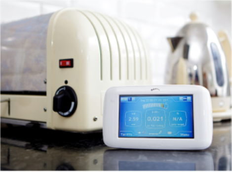 Smart meter on a kitchen surface in front of a toaster and a kettle